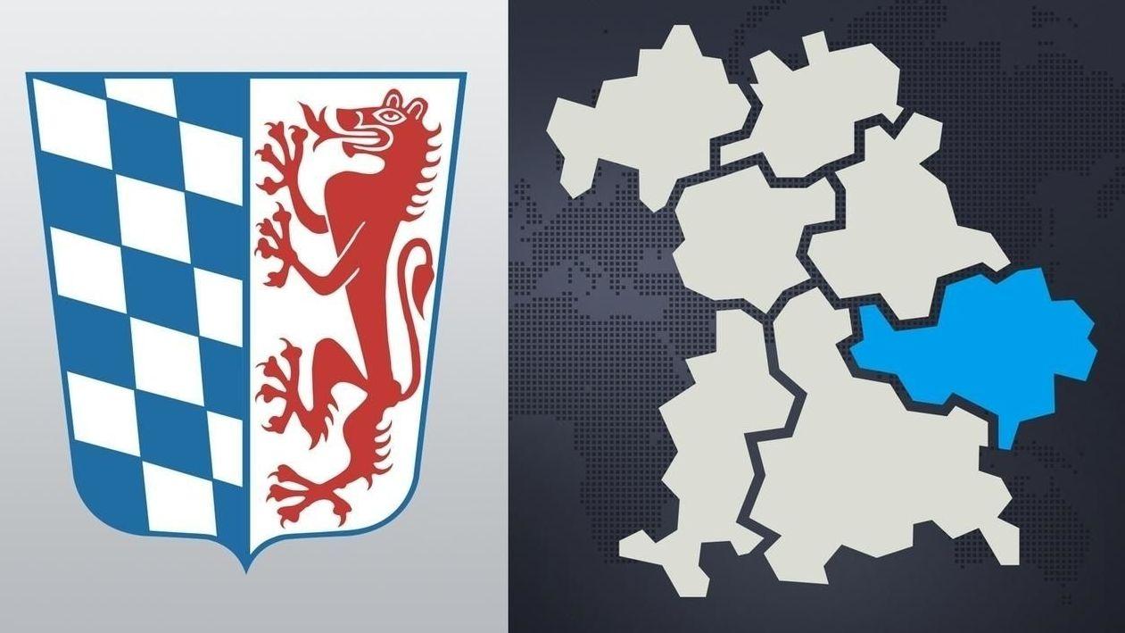 Das Wappen von Niederbayern und der Bezirk auf der Landkarte