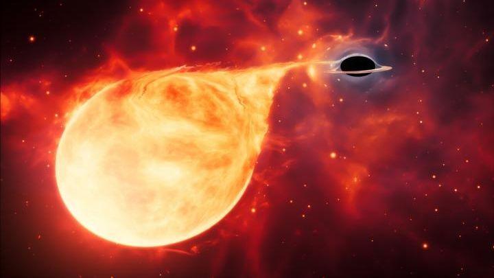 Künstlerische Darstellung eines Sterns, der von einem schwarzen Loch mittlerer Masse (IMBH) auseinandergerissen wird, das von einer Akkretionsscheibe umgeben ist.