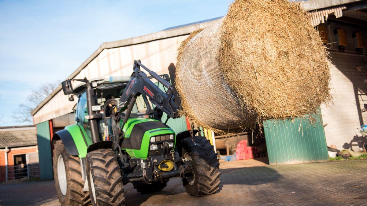 Traktor mit Heuballen (Symbolfoto)