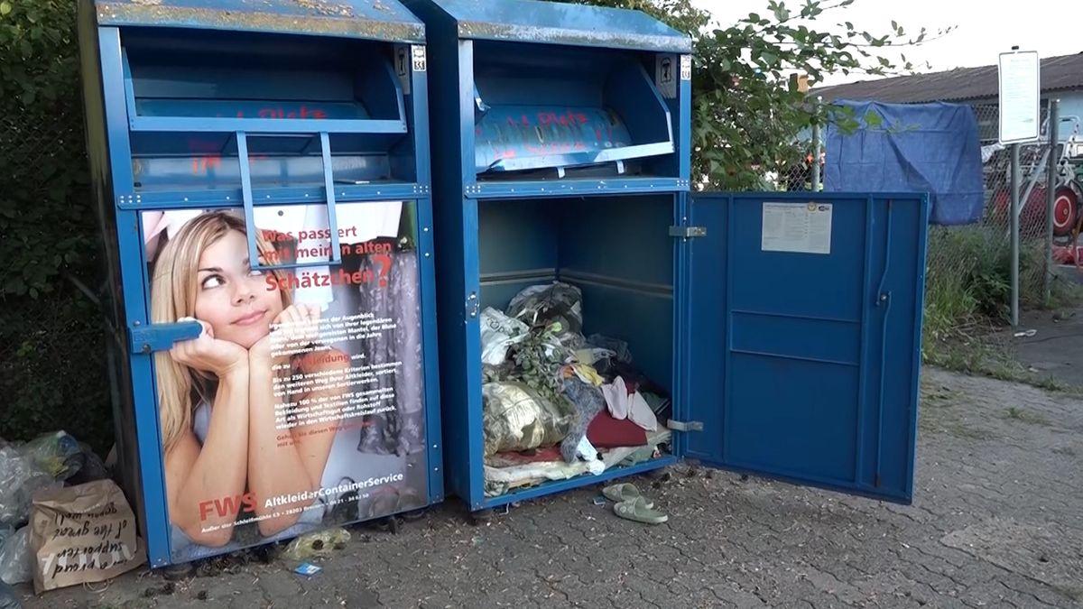 Unfallort in Ringheim: ein Altkleidercontainer am Ostring