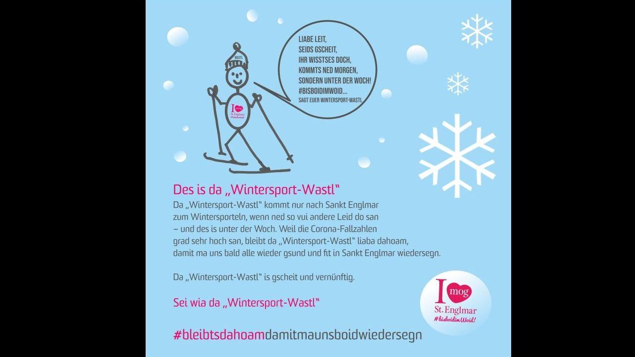 """Plakat mit dem """"Wintersport-Wastl"""", mit dem Sankt Englmar an die Vernunft der Besucher appelliert"""