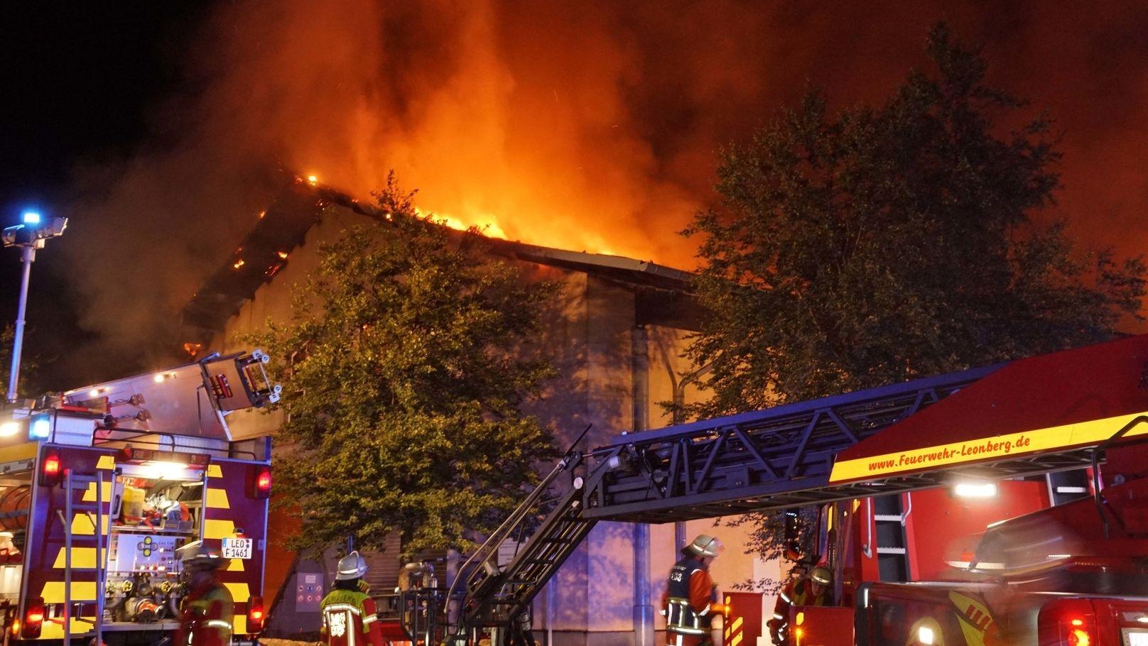 Feuer in Biogasanlage bei der Kleinstadt Leonberg