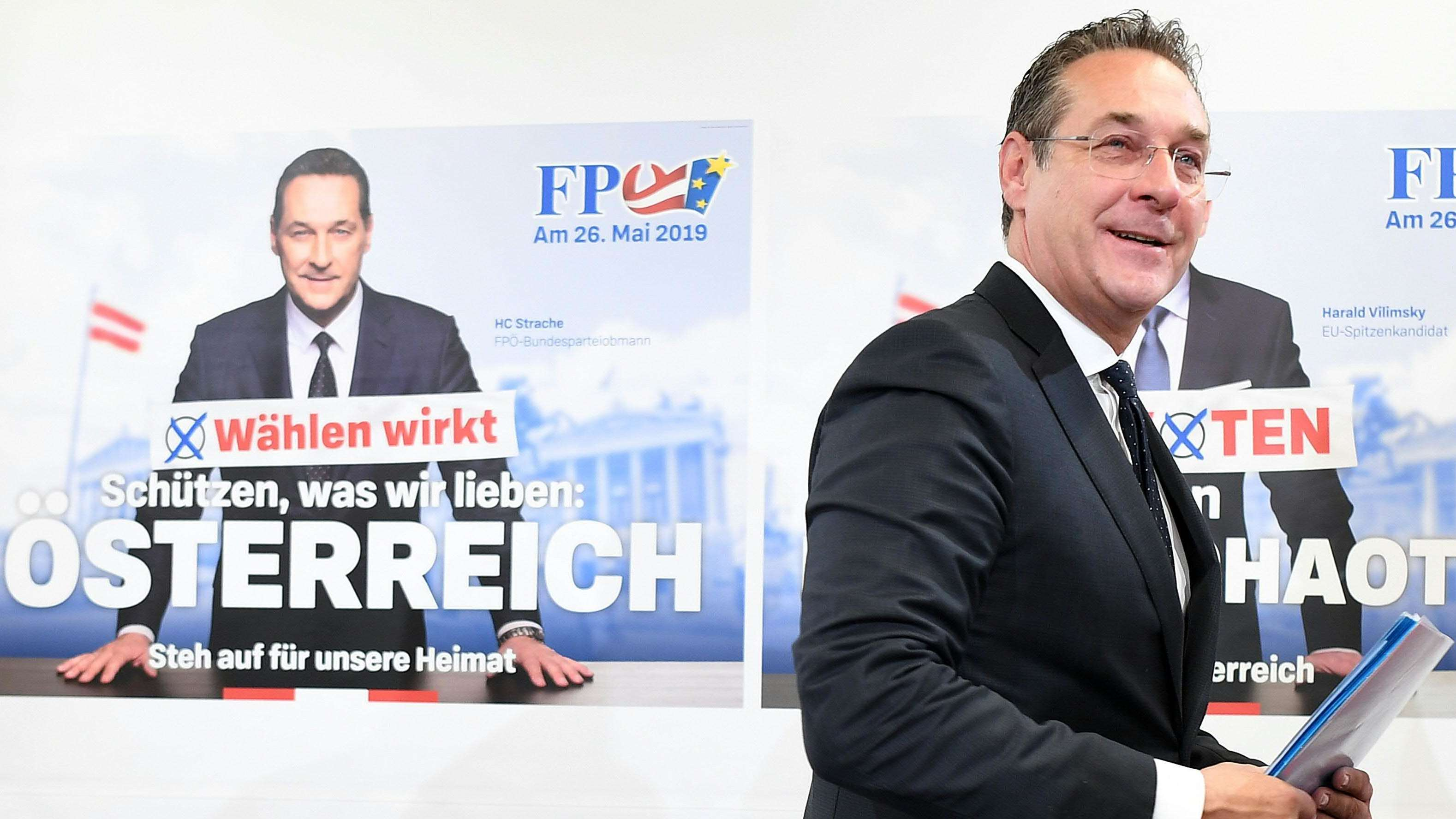 """Vizekanzler Heinz-Christian Strache (FPÖ) bei der Pressekonferenz der FPÖ zur """"Kampagnenpräsentation"""" in Wien."""