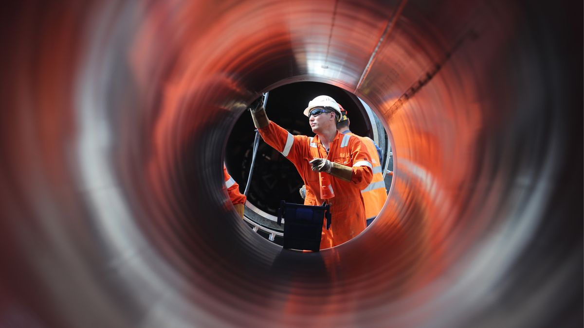 Arbeiter an Gaspipeline Nord Stream II