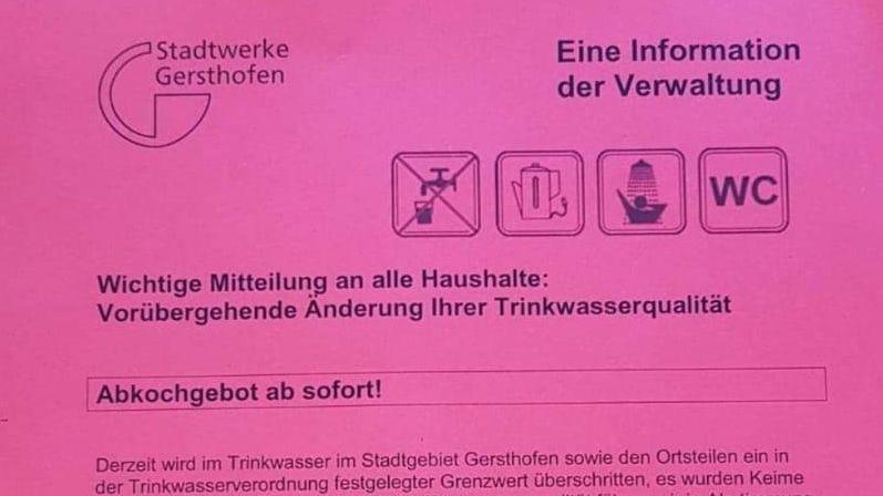 Handzettel mit Abkochgebot in Gersthofen