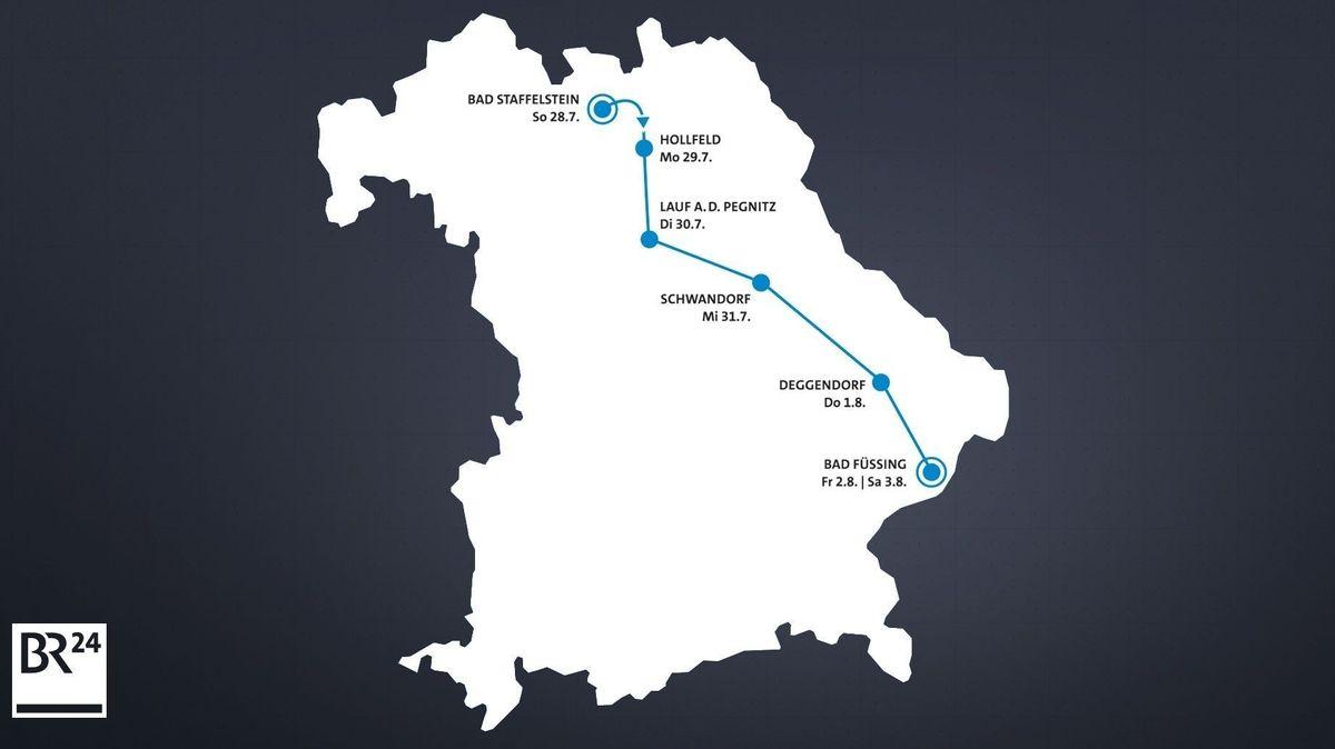 Die Route der BR-Radltour 2019