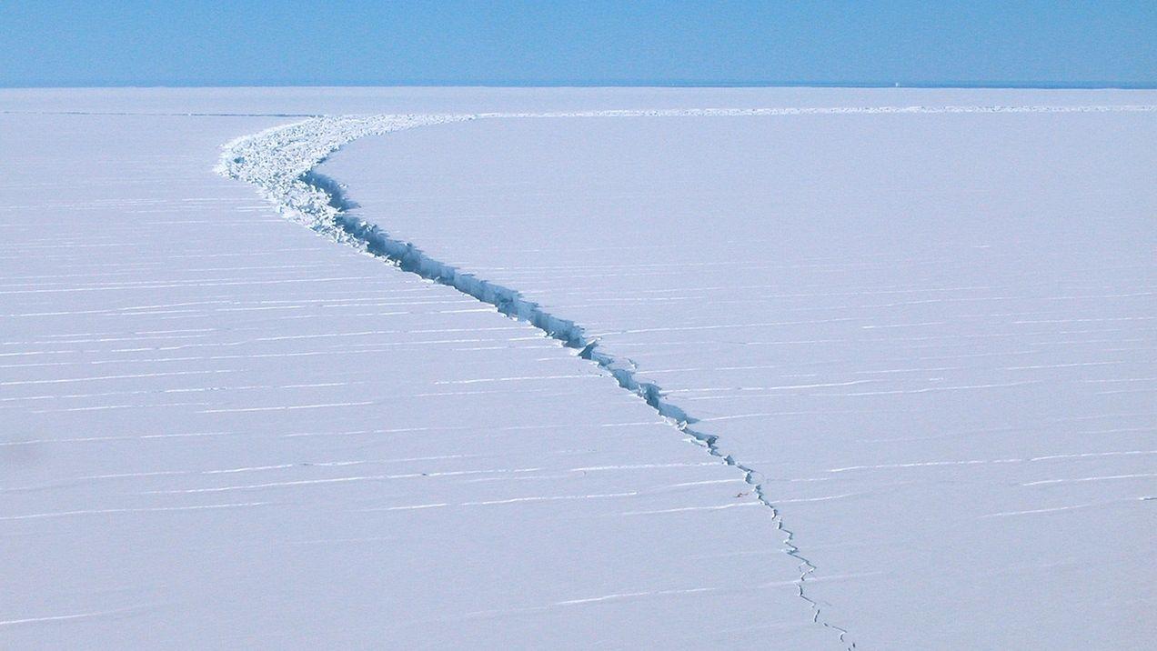 Dieses undatierte Foto zeigt einen Riss an einem Eisberg vom sogenannten Amery-Schelfeis. Am Südpol ist ein riesiger Eisberg mit einer Fläche von 1.636 Quadratkilometern abgebrochen - etwa so groß wie das gesamte Stadtgebiet von London. Der Berg löste sich vergangene Woche im Osten der Antarktis vom sogenannten Amery-Schelfeis, einer Fläche mit ewigem Eis, wie die australische Antarktis-Agentur AAD am Dienstag mitteilte.