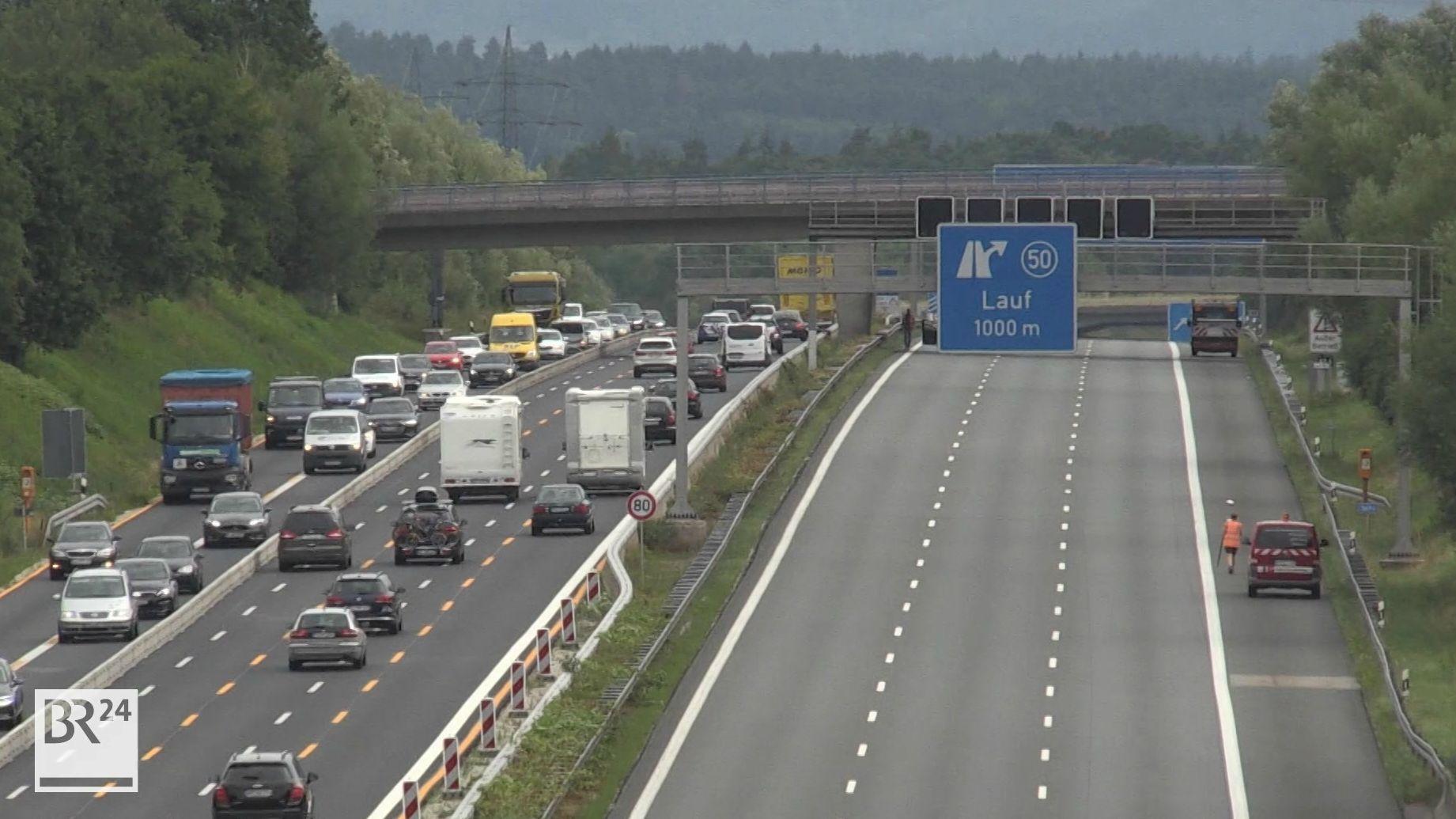 Bauarbeiten auaf der A9 bei Lauf