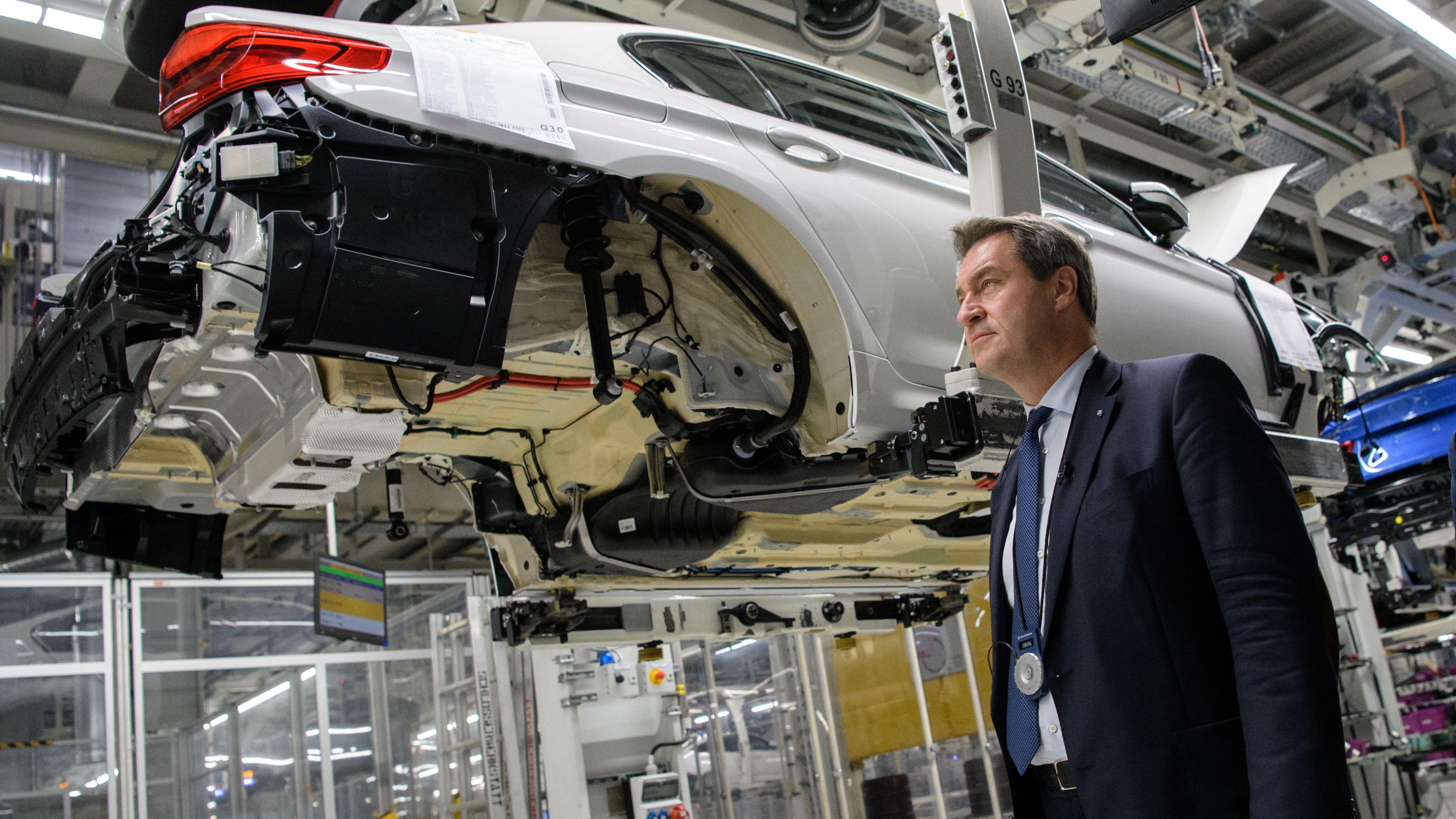 Markus Söder bei einem Besuch des BMW-Werks Dingolfing
