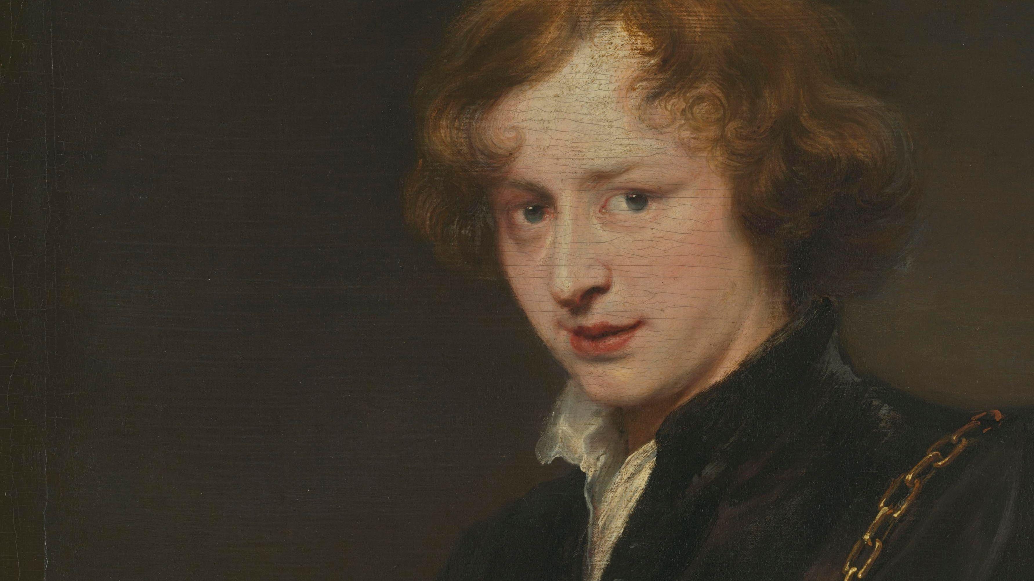 "Gemälde Anthonis van Dyck, ""Selbstbildnis"" (1620/21): Der Porträtierte blickt den Betrachter an"