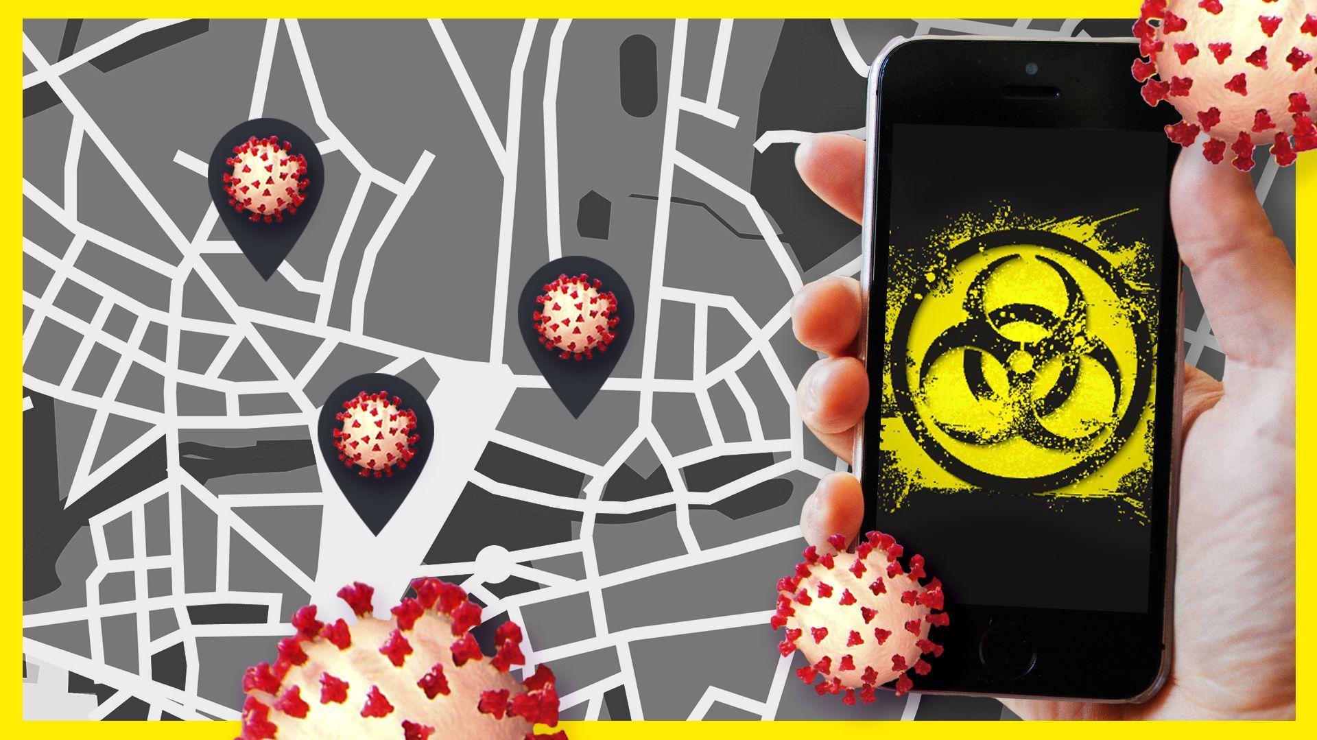 """Eine Hand hält ein Smartphone, auf dem Display ist ein verwaschenes """"Bio-Hazard""""-Symbol zu sehen. Dahinter eine schematische Darstellung eines Straßennetzes mit Standort-Markierungen, die ein Virus in sich tragen."""