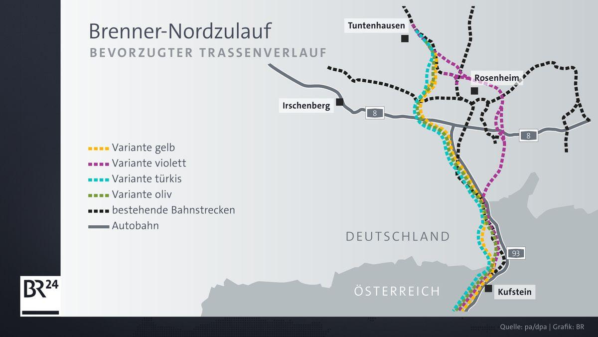 Die vier möglichen Trassenvarianten für den Brenner-Nordzulauf.