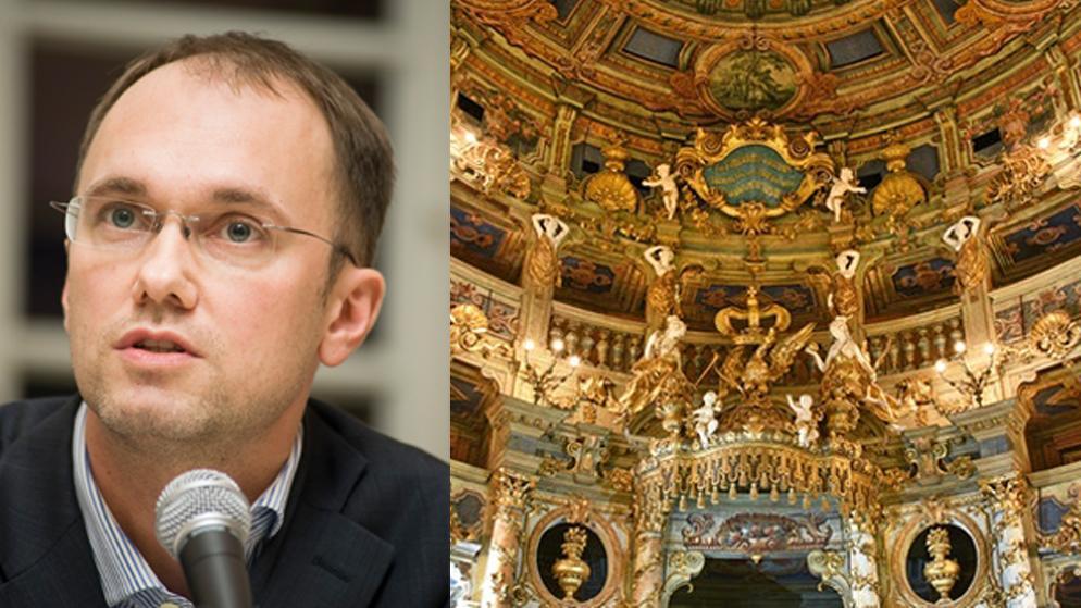 Tobias Knoblich und der Innenraum des Markgräflichen Opernhauses in Bayreuth.