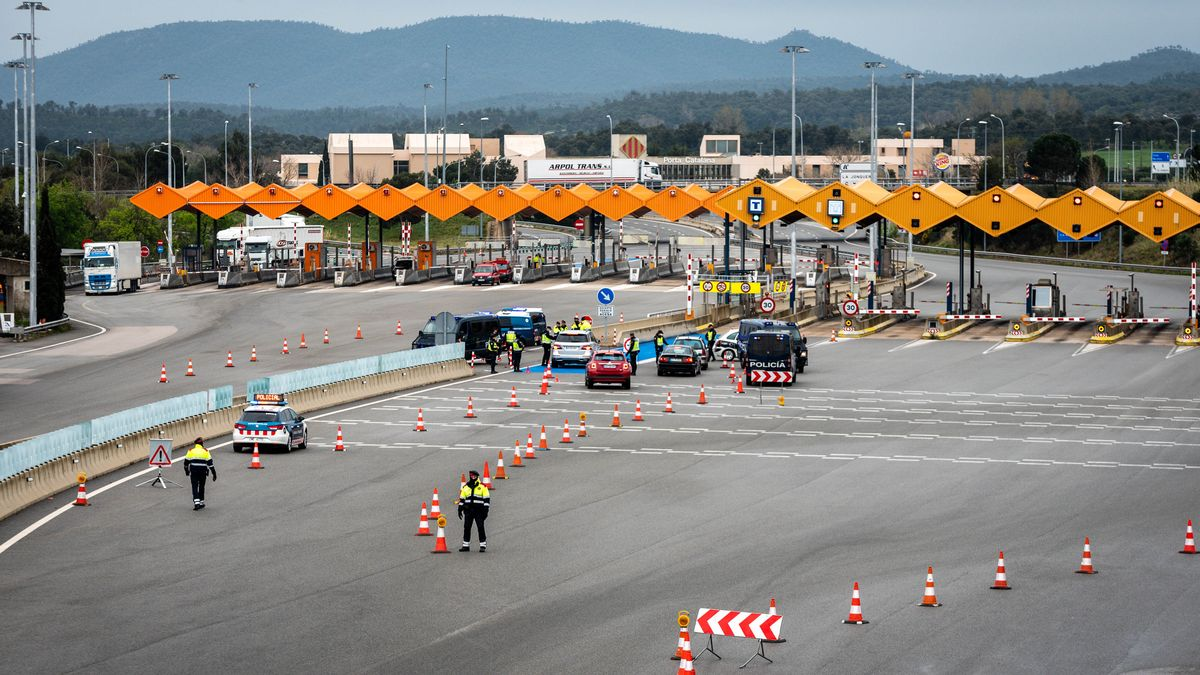 Spanische Grenze zu Frankreich in La Jonquera