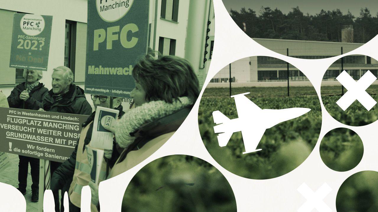 Anwohner des Flugplatzes in Manching protestieren für eine sofortige Sanierung des mit PFC kontaminierten Bundeswehrstandorts