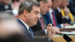 Söder bei seiner Regierungserklärung im Landtag | Bild:Peter Kneffel/dpa