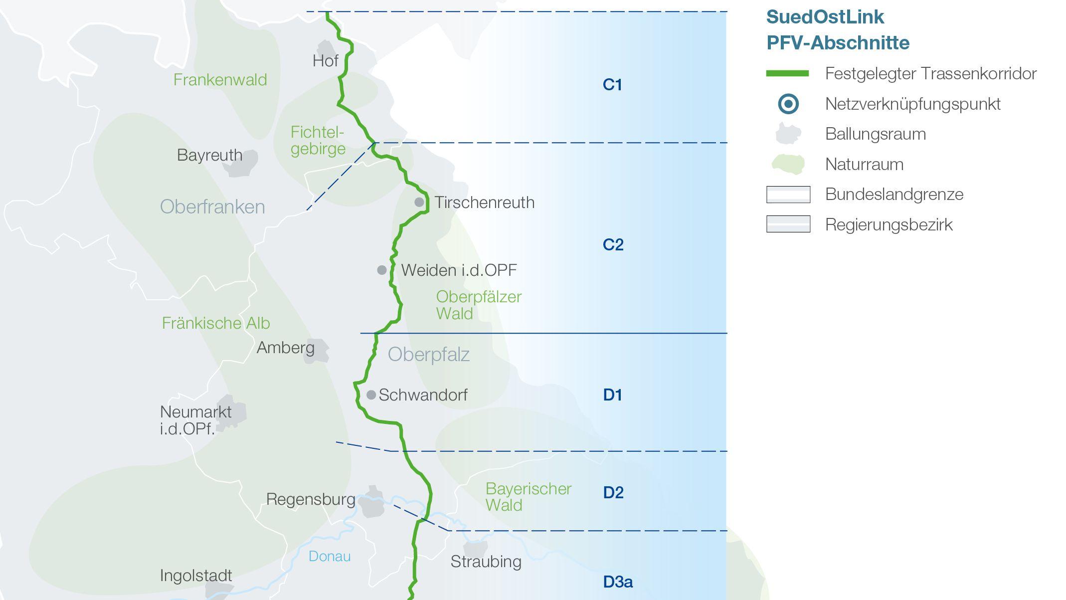 Die Gleichstromleitung soll auf einer Länge von mehr als 200 Kilometern durch die gesamte Oberpfalz und das westliche Niederbayern führen.