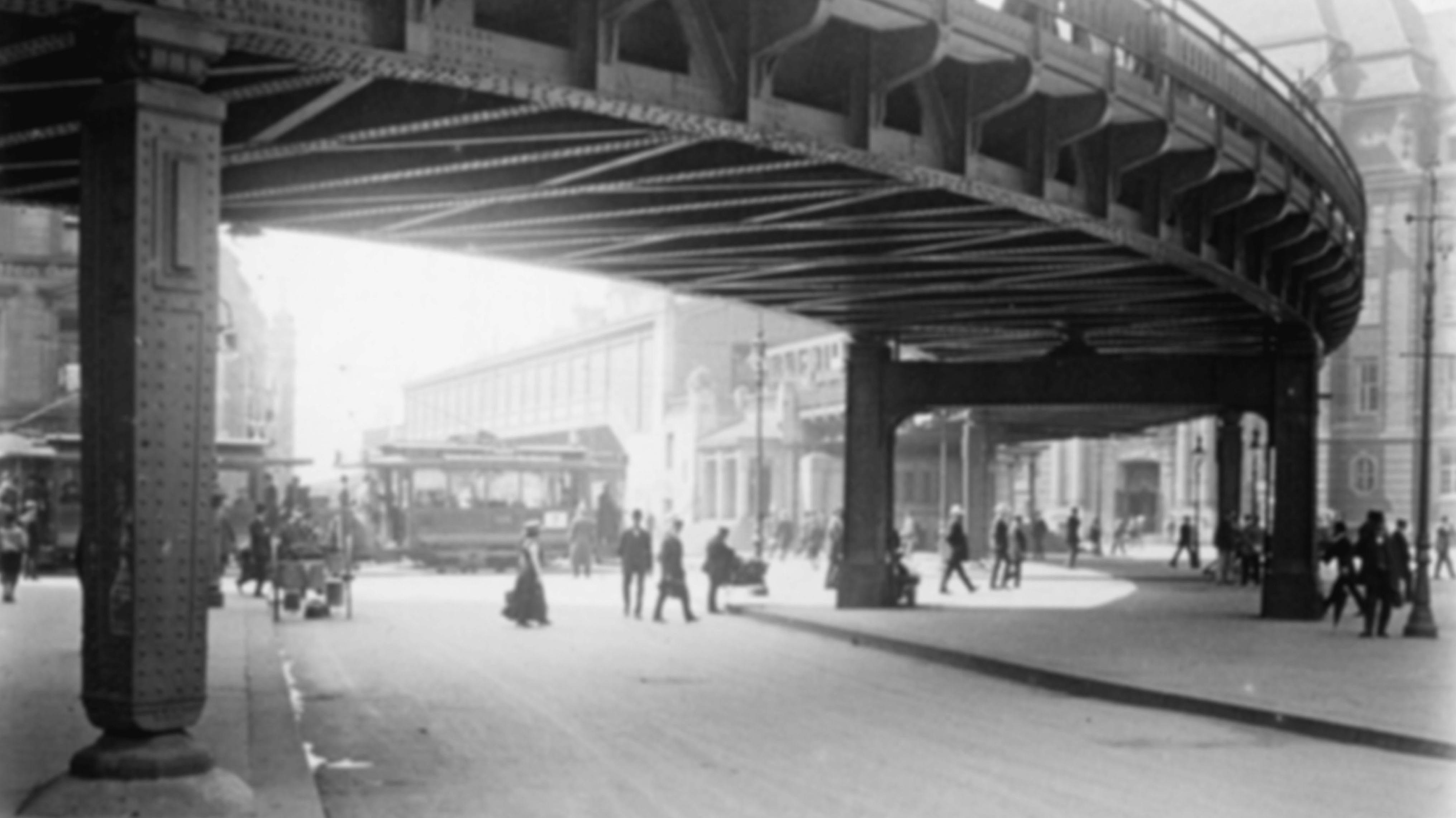 Brücke der Hochbahn am Roedingmarkt in Hamburg, 1913