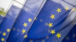 Europaflaggen vor dem Eingang zum Haus der Deutschen Wirtschaft in Berlin.   Bild:picture alliance