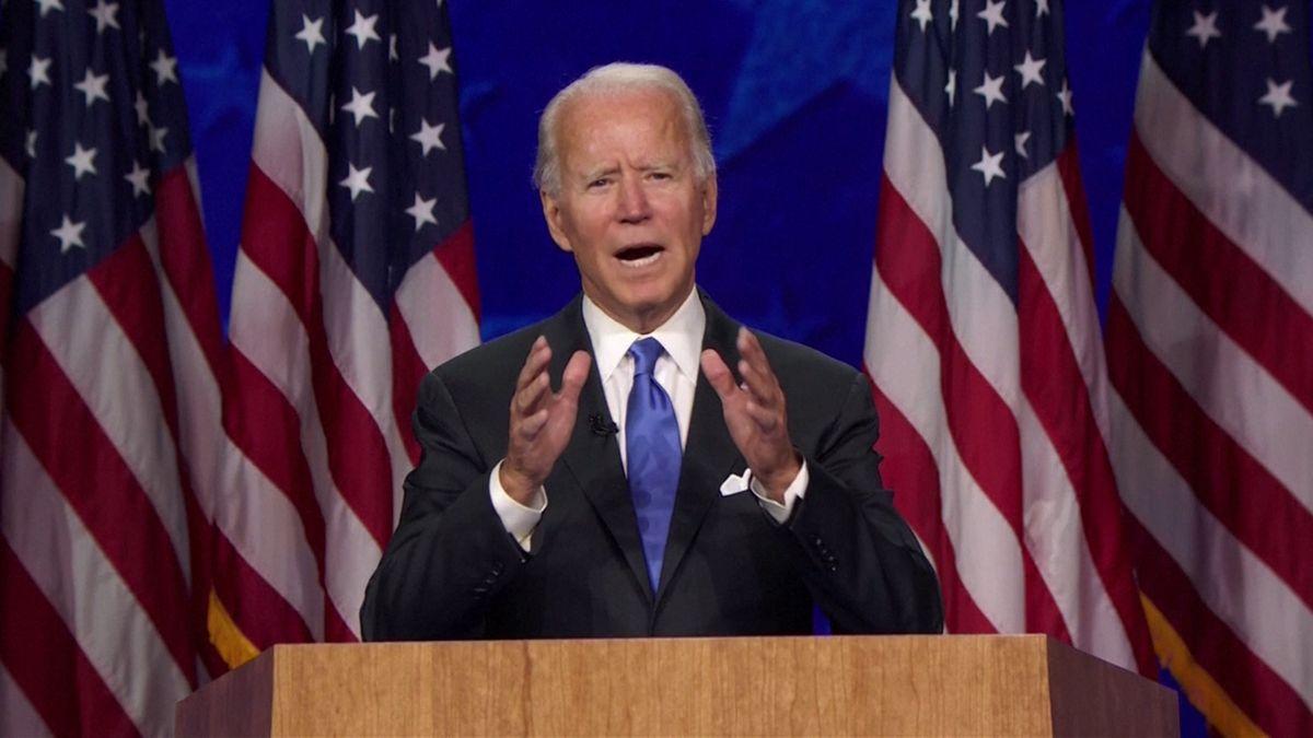 Mit einer kämpferischen Rede hat Joe Biden die Nominierung der US-Demokraten zum Präsidentschaftskandidaten angenommen.