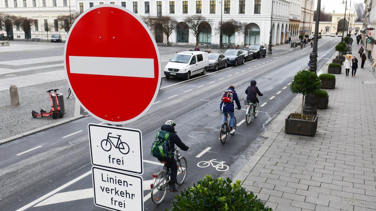 Radfahrer fahren auf der Brienner Straße an einem Verbotsschild für Autos vorbei.