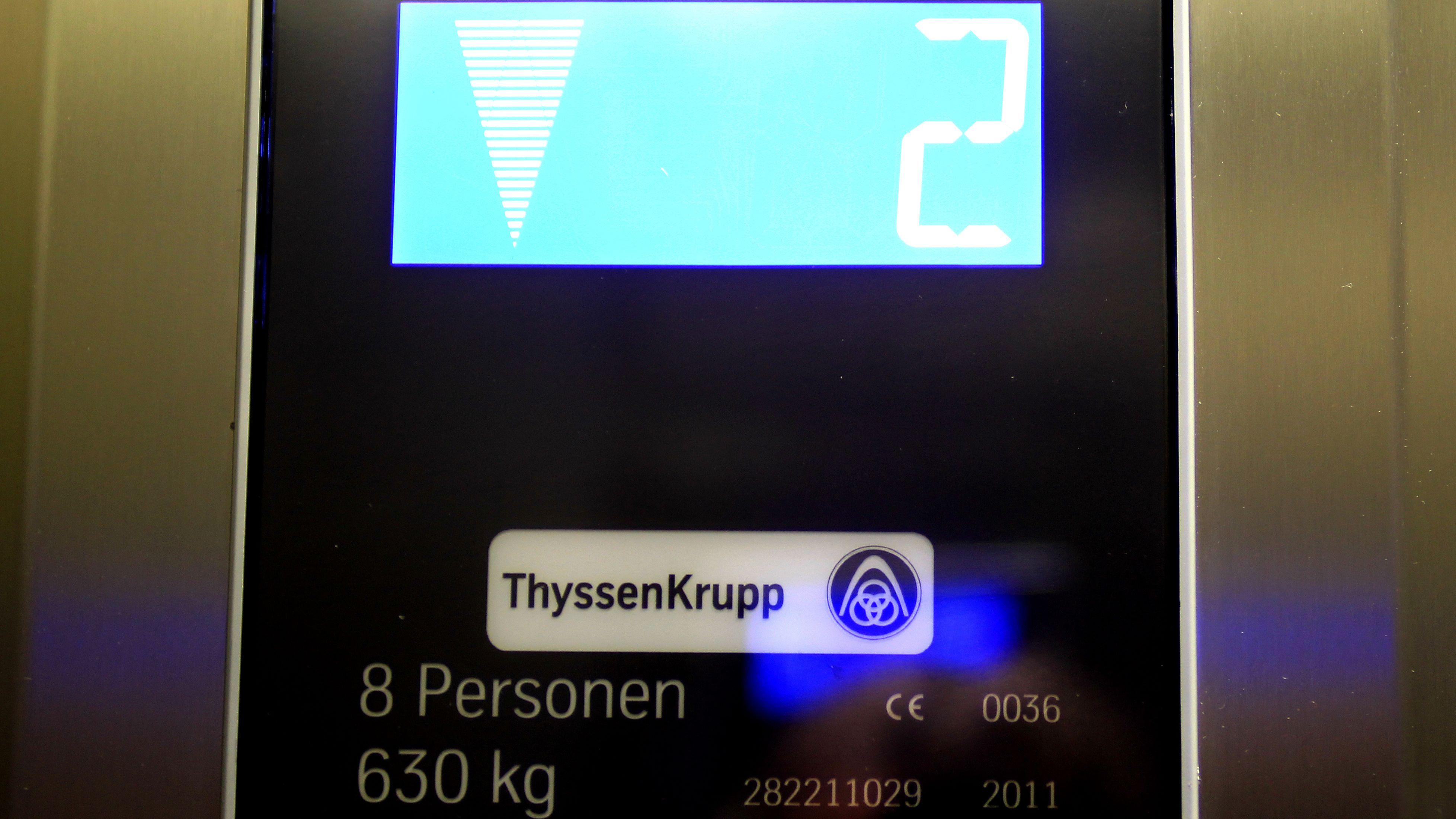 Display eines Aufzuges der Firma ThyssenKrupp