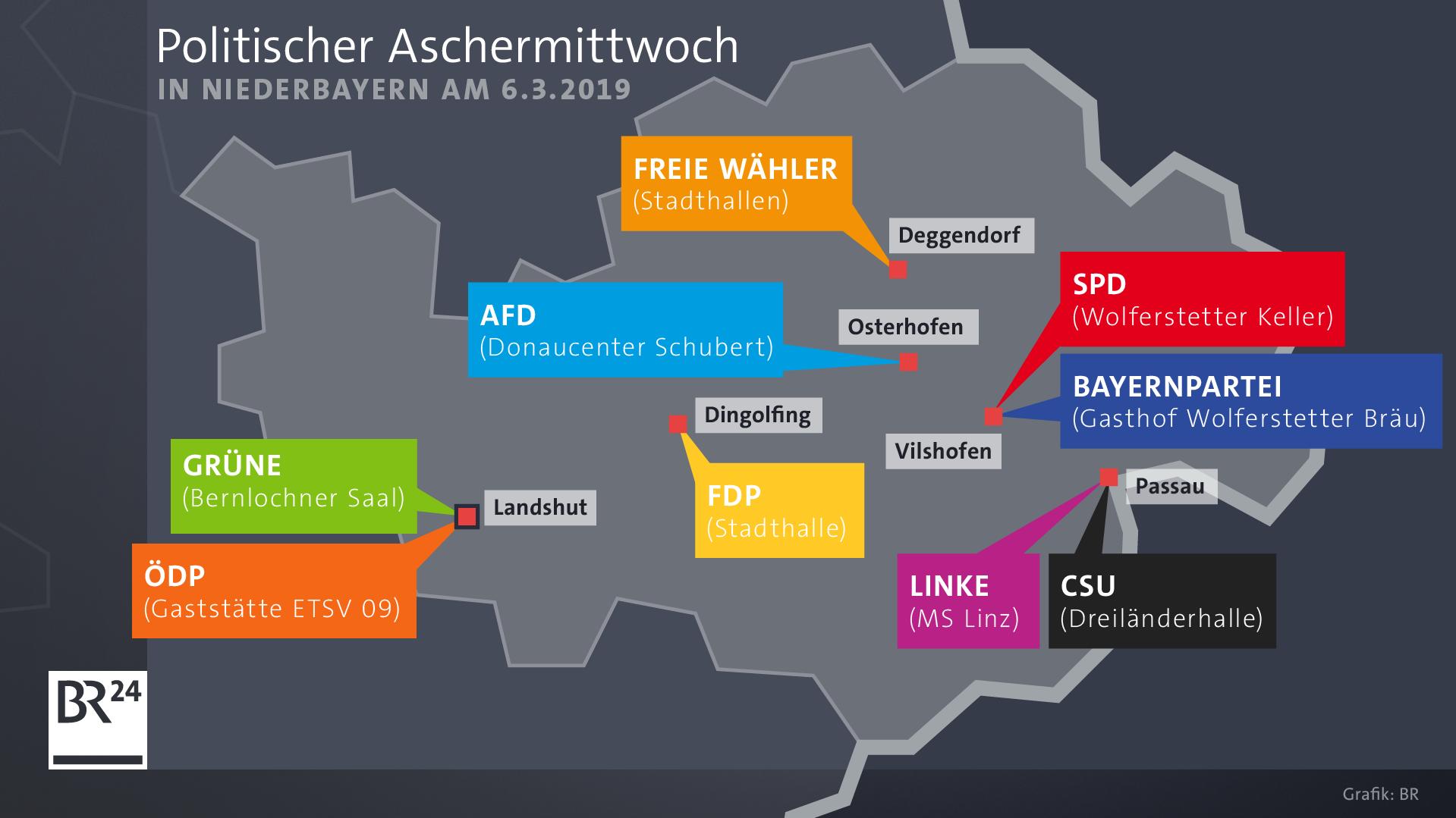 Politischer Aschermittwoch: Wo die Parteien ihre Kundgebungen abhalten
