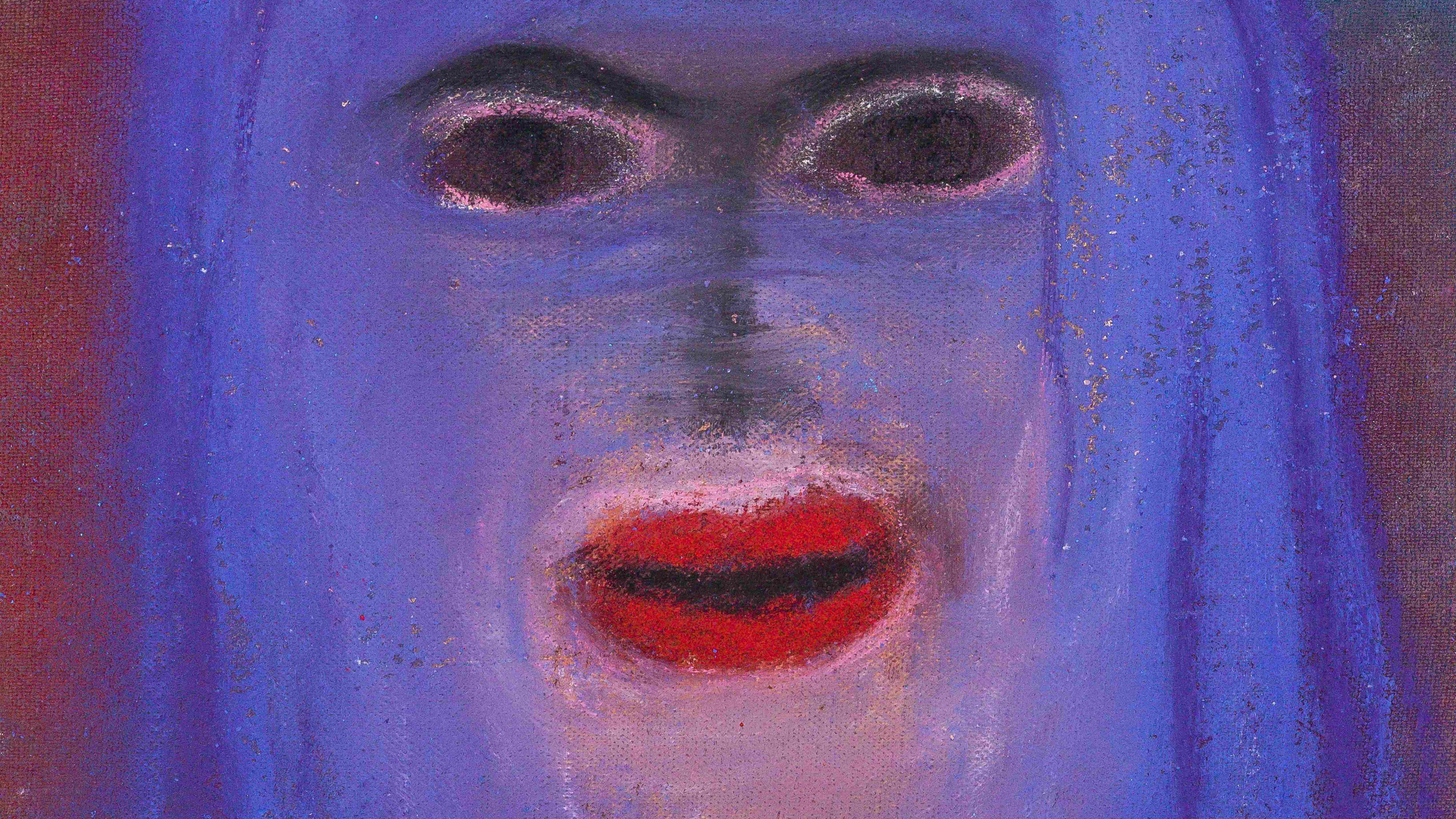 Ausschnitt aus einem Werk von Miriam Cahn ohne Titel, vom 8.7.18, Pastel und Stoff auf Papier, 28 x 32 cm