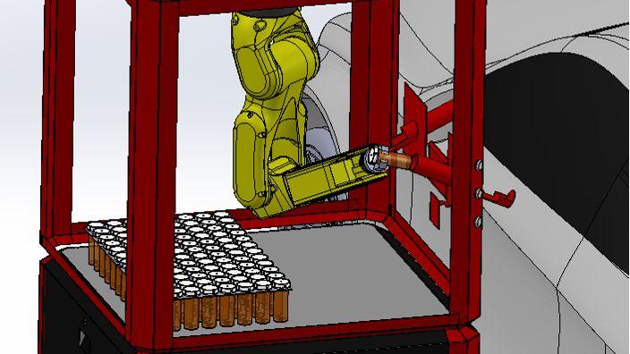 Roboterarm zur kontaktfreien Abgabe von Covid-19-Tests